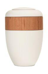 Magusa B0100 Ring-Urne cremeweiß mit B0102 Kirschbaumring