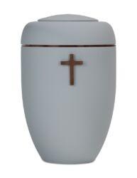 Magusa B0401 Symbol-Urne hellgrau mit B0310 Kupferscheibe und B0301 Holzkreuz