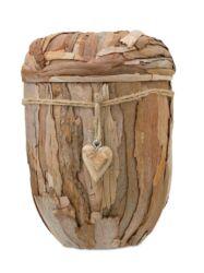 Magusa D2811 Naturstoff, Eukalyptusrinde mit Herzanhänger aus Holz