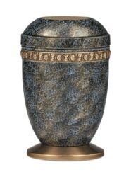 Magusa H1410 A-S Stahl Ms., Blau-Bronze Handpatiniert, Rosendekor, Sockel
